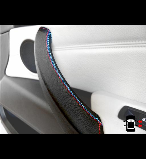 Couvercle de poignée de porte pour BMW X5 & X6 E70, E71, E72 2006-13 en cuir noir M Sport couture