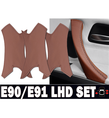 Brown Leather Door Handle Covers SET LHD BMW 3 Series E90/ E91