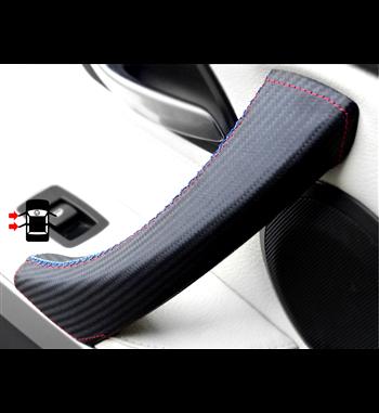 Passenger Door Handle Covers for BMW 3 320i Sport Caron Fibre Leather