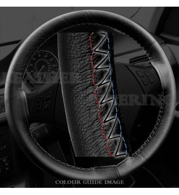 BMW 3 series E90 / E91 Black Leather Steering Wheel Cover – Red-Blue White Lacing Cord