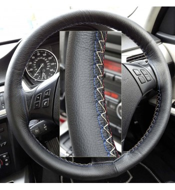 BMW 3 series 320d E46 Black Leather Steering Wheel Cover – Red-Blue with gold finish stitch