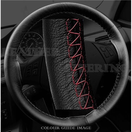 BMW 320d E46 (1998-2005) Black Leather Steering Wheel Cover – Red stitch with Red lacing cord