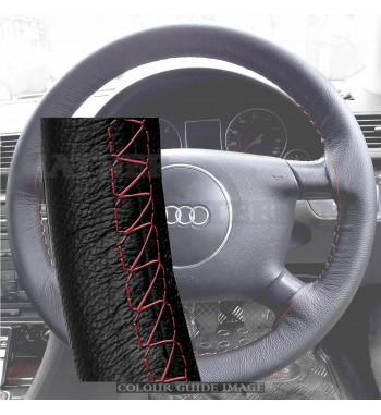 Negro de la cubierta de cuero del volante para AUDIA4 B6, E82 - puntada...