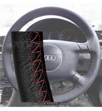 Audi A4 8E2, B6 Black Leather Steering Wheel Cover – Red stitch with Red lacing cord