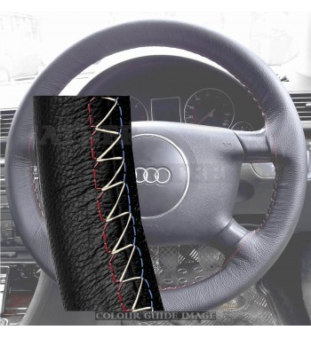 Audi A4 B6, E82 2000-2004 Black Leather Steering Wheel Cover – Red-Blue with gold finish stitch