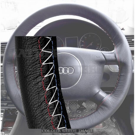 Audi A4 8E2, B6 Black Leather Steering Wheel Cover – Red-Blue White Lacing Cord