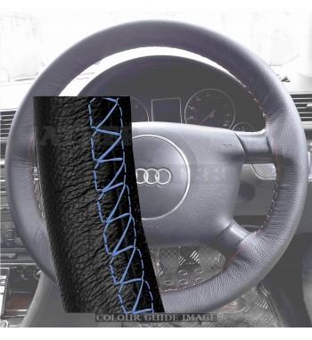 AUDI:A4 B6, E82 Cuero Negro cubierta del volante - azul real de la puntada