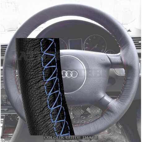 Audi A4 8E2, B6 Black Leather Steering Wheel Cover – Royal Blue stitch