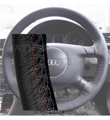 Audi A4 8E2, B6 Black Leather Steering Wheel Cover – Red-Blue Black Lacing Cord