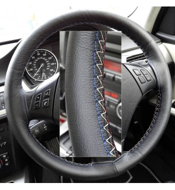 BMW 3 series E90/ E91 / X1 E84 Black Leather Steering Wheel Cover – Red-Blue with gold finish stitch