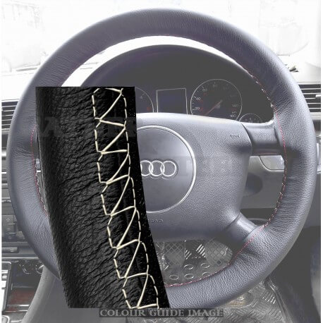 Audi A4 8E2, B6 Black Leather Steering Wheel Cover – Gold Stitch