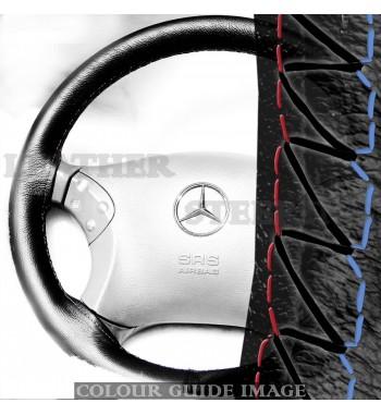 Cubierta negra del volante de cuero Mercedes Clase C W203 C180-C350...