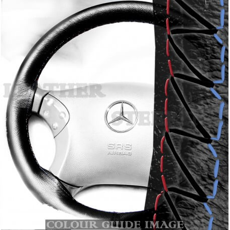 Mercedes C Class W203 C180, C200, C220, C230, C240, C250, C270, C280 Black Leather Steering wheel cover – Red-Blue Black Lacing