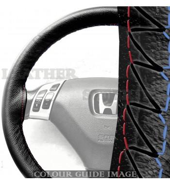 Cubierta negra del volante de cuero Honda Accord MK7 02-07 Rojo-Azul...