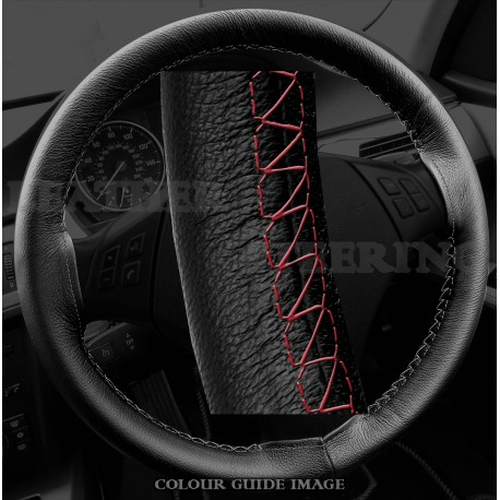 BMW 3 series E90 / E91 Black Leather Steering Wheel Cover – Red stitch with Red lacing cord