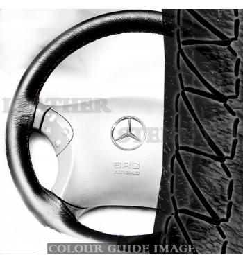 Mercedes Klasa C W203 C180-C350 Skórzany pokrowiec kierownicy – Czarny z...