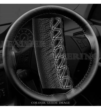 Fiat Panda 2003-2012 Skórzany pokrowiec kierownicy – Czarny z Czarnym szwem