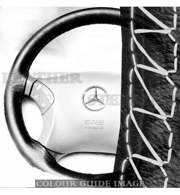 Housse de volant en cuir noir BMW Série 3 320d E46 - Point blanc