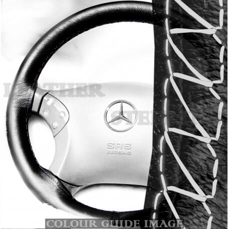 Mercedes C Class W203 C180, C200, C220, C230 Black Leather Steering Wheel Cover – White lacing cord