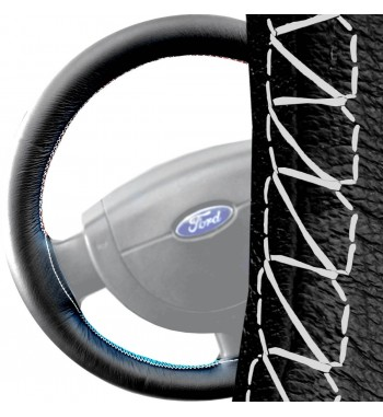 Fundas para volante para Ford Fiesta MK5 2002-2008 cuero negra, costura blanca