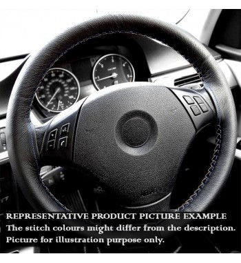 BASE MASTER BMW 3 series E90 / E91 Black Leather Steering Wheel Cover – Black stitches