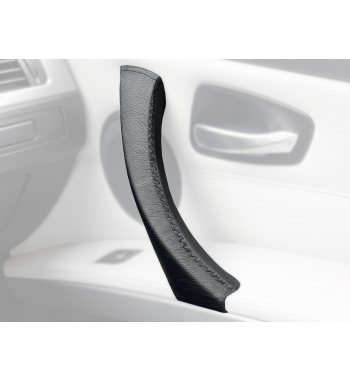 BMW 3 Series E90 E91 E92 E93 (RIGHT) Door Handle Black Leather Cover Black Stitch