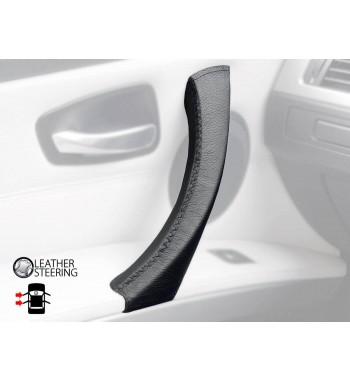 Para BMW Serie 3 E90 E91 E92 E93 E93 Manija de la Puerta IZQUIERDA Funda de cuero negro Puntada negra
