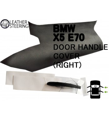 BMW X5 E70 (RIGHT) Door Handle Black Leather Cover Black Stitch