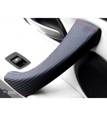 Skórzana osłona klamki z włókna węglowego sportowego do BMW serii 3 E90 E91 E92 E93 i M3 LEWE Drzwi