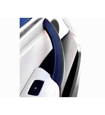 Couvercle de poignée de porte pour BMW X5 E70 2006-13 en cuir noir M Sport couture (porte gauche)