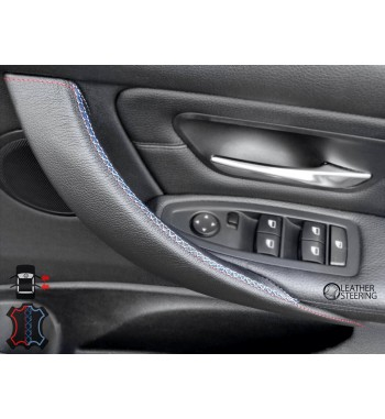 Door Handle Cover for BMW 3 Series F30  F31 3xx i/d (Right Door, Black Leather, M Sport Stitch)