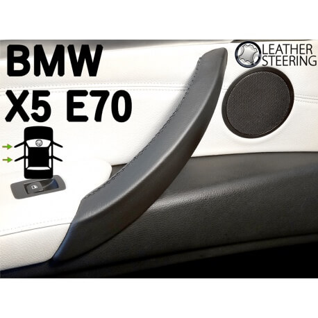 BMW X5 E70 (LEFT) Door Handle Black Leather Cover Black Stitch