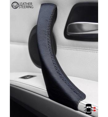 Pour BMW Série 3 Série E90 E91 E91 E92 E92 E93 Passager latéral (DROITE) Poignée de porte en cuir noir Couverture en cuir noir
