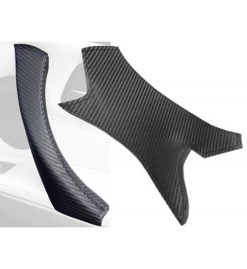 BMW 3 Series E90/ E9x efecto carbono interior manija de la puerta cubierta de cuero