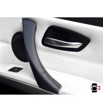 BMW 3 Série E90/ E9x Série 3 Poignée de porte intérieure effet carbone revêtement cuir