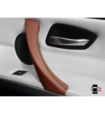 Couverture en cuir de poignée de porte intérieure brune pour BMW Série 3 E90 / E91 / E92 / E93 M3